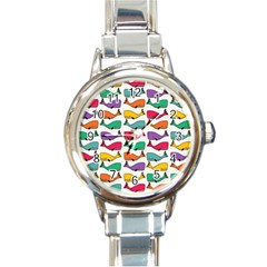 Small Rainbow Whales Round Italian Charm Watch by Simbadda