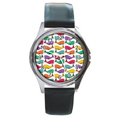 Small Rainbow Whales Round Metal Watch by Simbadda