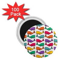 Small Rainbow Whales 1 75  Magnets (100 Pack)  by Simbadda