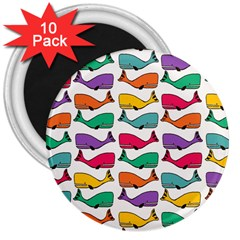 Small Rainbow Whales 3  Magnets (10 Pack)