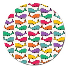 Small Rainbow Whales Magnet 5  (round) by Simbadda