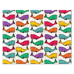 Small Rainbow Whales Rectangular Jigsaw Puzzl