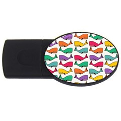 Small Rainbow Whales Usb Flash Drive Oval (4 Gb) by Simbadda