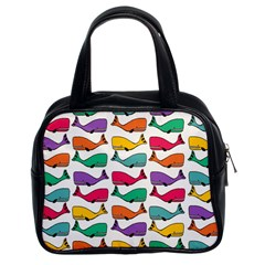 Small Rainbow Whales Classic Handbags (2 Sides) by Simbadda