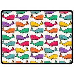 Small Rainbow Whales Fleece Blanket (large)  by Simbadda