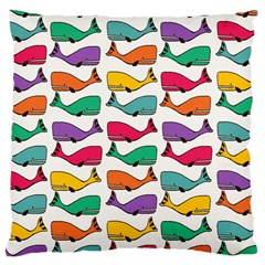 Small Rainbow Whales Large Cushion Case (one Side) by Simbadda