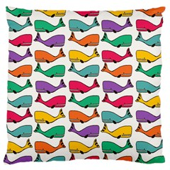 Small Rainbow Whales Large Flano Cushion Case (one Side) by Simbadda