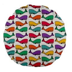 Small Rainbow Whales Large 18  Premium Flano Round Cushions by Simbadda