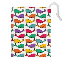 Small Rainbow Whales Drawstring Pouches (xxl)