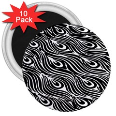 Digitally Created Peacock Feather Pattern In Black And White 3  Magnets (10 Pack)