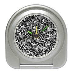 Digitally Created Peacock Feather Pattern In Black And White Travel Alarm Clocks by Simbadda