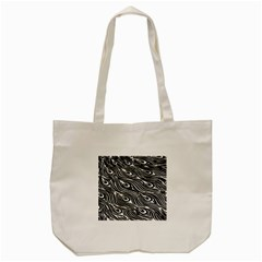 Digitally Created Peacock Feather Pattern In Black And White Tote Bag (cream)