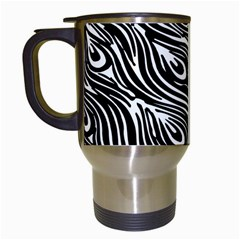 Digitally Created Peacock Feather Pattern In Black And White Travel Mugs (white) by Simbadda