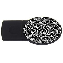 Digitally Created Peacock Feather Pattern In Black And White Usb Flash Drive Oval (4 Gb) by Simbadda