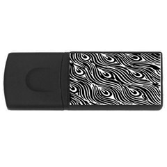 Digitally Created Peacock Feather Pattern In Black And White Usb Flash Drive Rectangular (4 Gb) by Simbadda