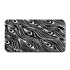 Digitally Created Peacock Feather Pattern In Black And White Medium Bar Mats by Simbadda