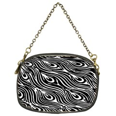 Digitally Created Peacock Feather Pattern In Black And White Chain Purses (one Side)  by Simbadda