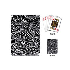 Digitally Created Peacock Feather Pattern In Black And White Playing Cards (mini)