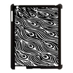 Digitally Created Peacock Feather Pattern In Black And White Apple iPad 3/4 Case (Black) Front