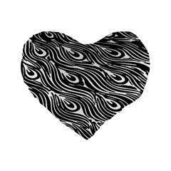 Digitally Created Peacock Feather Pattern In Black And White Standard 16  Premium Heart Shape Cushions by Simbadda