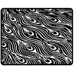Digitally Created Peacock Feather Pattern In Black And White Double Sided Fleece Blanket (medium)