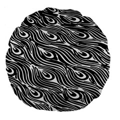 Digitally Created Peacock Feather Pattern In Black And White Large 18  Premium Flano Round Cushions by Simbadda