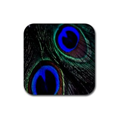 Peacock Feather Rubber Square Coaster (4 Pack)  by Simbadda
