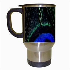 Peacock Feather Travel Mugs (white) by Simbadda