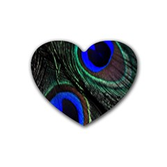 Peacock Feather Rubber Coaster (heart)  by Simbadda