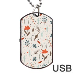 Seamless Floral Patterns  Dog Tag Usb Flash (two Sides) by TastefulDesigns