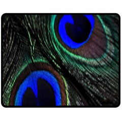 Peacock Feather Double Sided Fleece Blanket (medium)  by Simbadda
