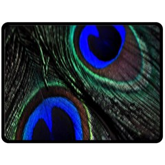 Peacock Feather Double Sided Fleece Blanket (large)  by Simbadda