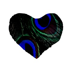 Peacock Feather Standard 16  Premium Flano Heart Shape Cushions by Simbadda