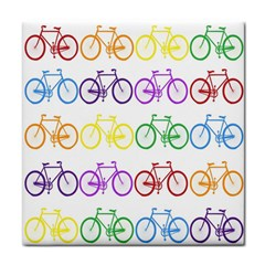 Rainbow Colors Bright Colorful Bicycles Wallpaper Background Tile Coasters by Simbadda