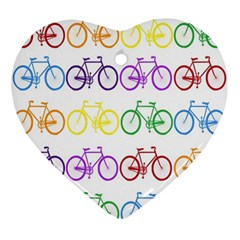 Rainbow Colors Bright Colorful Bicycles Wallpaper Background Ornament (heart) by Simbadda