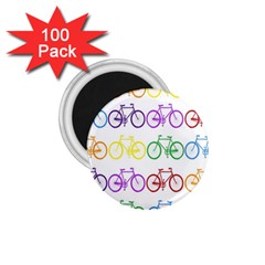 Rainbow Colors Bright Colorful Bicycles Wallpaper Background 1 75  Magnets (100 Pack)  by Simbadda