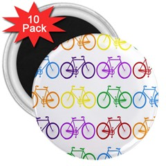 Rainbow Colors Bright Colorful Bicycles Wallpaper Background 3  Magnets (10 Pack)