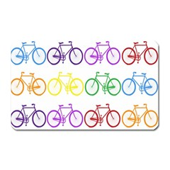 Rainbow Colors Bright Colorful Bicycles Wallpaper Background Magnet (rectangular) by Simbadda