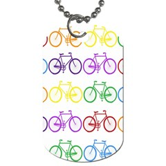 Rainbow Colors Bright Colorful Bicycles Wallpaper Background Dog Tag (one Side) by Simbadda