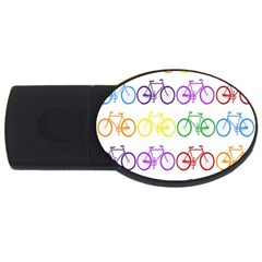 Rainbow Colors Bright Colorful Bicycles Wallpaper Background Usb Flash Drive Oval (2 Gb) by Simbadda