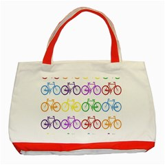Rainbow Colors Bright Colorful Bicycles Wallpaper Background Classic Tote Bag (red) by Simbadda