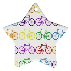 Rainbow Colors Bright Colorful Bicycles Wallpaper Background Star Ornament (two Sides) by Simbadda