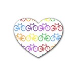 Rainbow Colors Bright Colorful Bicycles Wallpaper Background Rubber Coaster (Heart)  Front