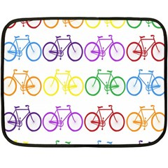 Rainbow Colors Bright Colorful Bicycles Wallpaper Background Double Sided Fleece Blanket (mini)  by Simbadda