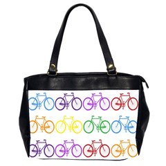 Rainbow Colors Bright Colorful Bicycles Wallpaper Background Office Handbags (2 Sides)  by Simbadda