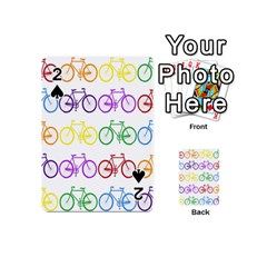 Rainbow Colors Bright Colorful Bicycles Wallpaper Background Playing Cards 54 (mini)  by Simbadda