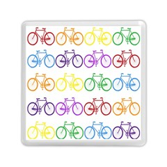 Rainbow Colors Bright Colorful Bicycles Wallpaper Background Memory Card Reader (square)  by Simbadda