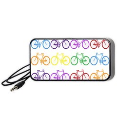 Rainbow Colors Bright Colorful Bicycles Wallpaper Background Portable Speaker (black) by Simbadda