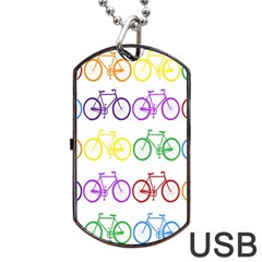 Rainbow Colors Bright Colorful Bicycles Wallpaper Background Dog Tag Usb Flash (two Sides)