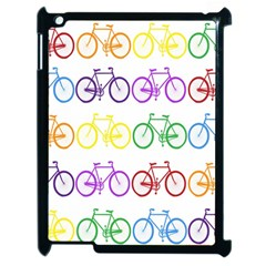 Rainbow Colors Bright Colorful Bicycles Wallpaper Background Apple Ipad 2 Case (black) by Simbadda